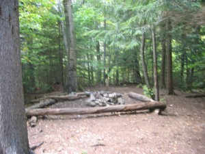 Campsite with benches