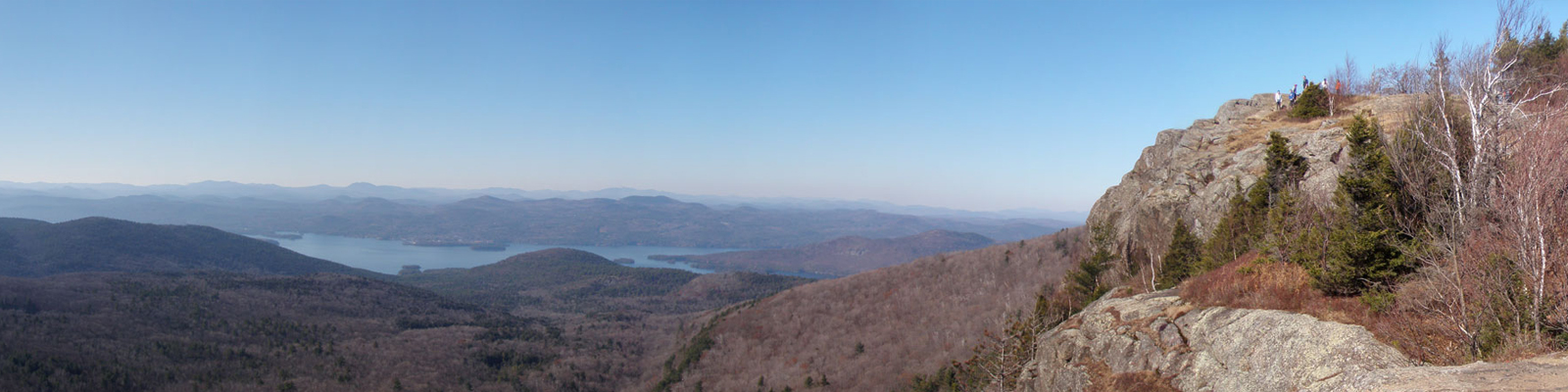 Panoramic view of Lake George and surrounding mountains
