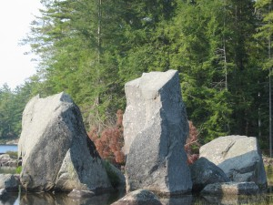 Natural stone pillars protuding out of Pharoah Lake