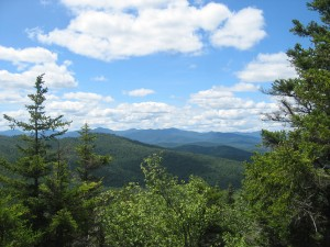 Blue skies over Central Adirondacks near Peaked Mountain summit