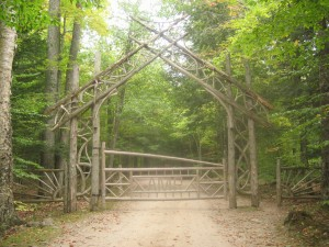 Wooden gate for the Adirondack Mountian Reserve