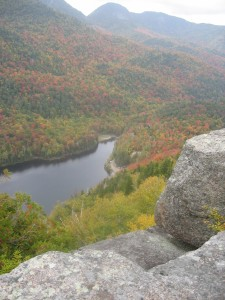 Ausable Lake seen from Indian Head with fall foliage