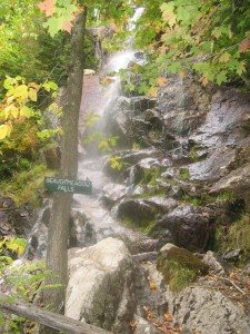 Beaver Meadow Falls, a veil falls found beside the trail
