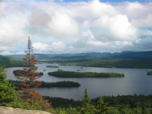 Forested island dotting Blue Mountain Lake