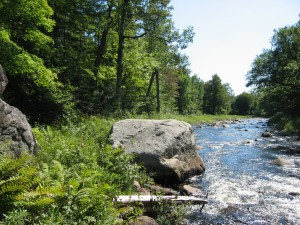 Boulder beside East Branch Sacandaga River at Crossing