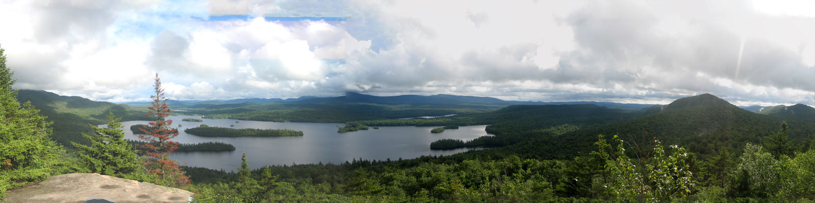 Blue Mountain Lake in the Central Adirondack Region as seen from seen Castle Rock