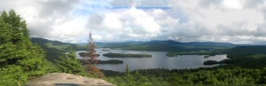 Blue Mountain lake surrounded by Central Adirondack forest