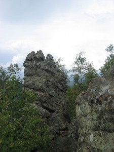 """One of several """"chimneys"""" rock formations found at the peak"""