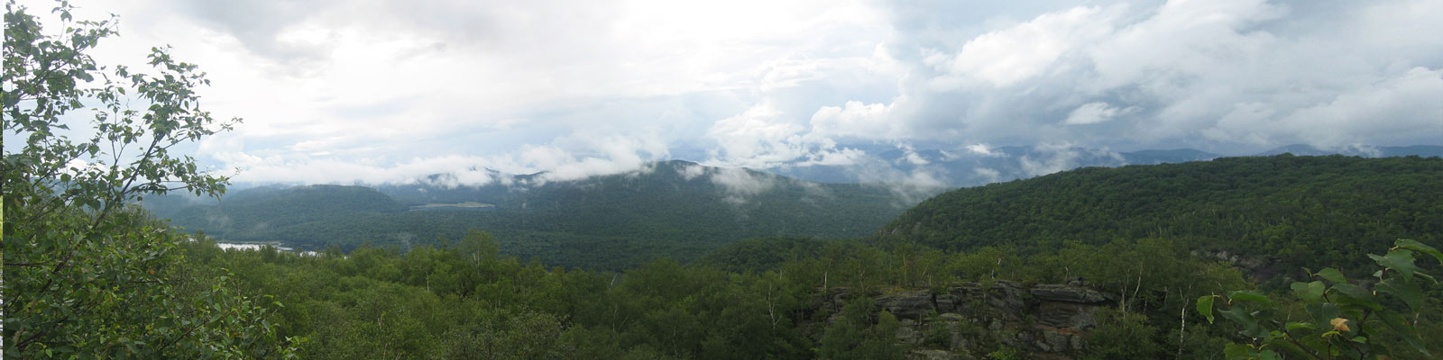 View of Central Adirondack region from atop Chimney Mountain
