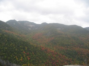 Fall foliage covering High Peaks mountains