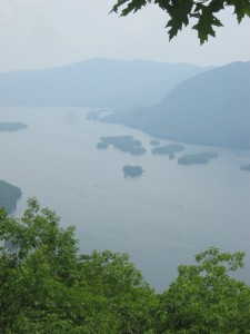 Looking down on Lake George through the fog
