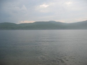The shores of Lake George covered in fog