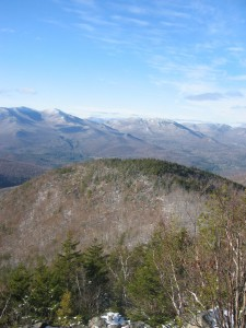 Looking down on Little Crow Mountain with High Peaks in the background