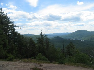 Open ledge with Southern Adirondacks beyond along the return portion of the trail