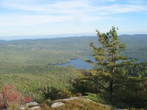 Pharaoh Lake nestled in the Eastern Adirondacks. As seen on descent from Pharaoh Mountain