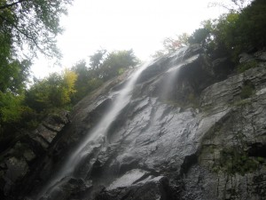 Looking up at Rainbow Falls