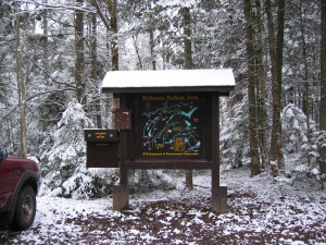 Trail register for Bear and Woodhull Lakes
