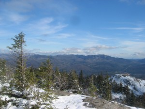 View of the High Peaks region in winter from Pitchoff Mountain