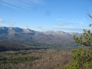 View o fthe Adirondack High Peaks from atop Big Crow Mountain