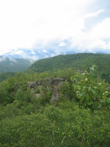 Wooded hills and rock formations