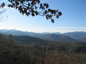 View of Adirondacks High Peaks in winter from Little Crow