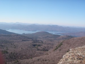 View atop Sleeping Beauty Mountain with Lake George in the distance